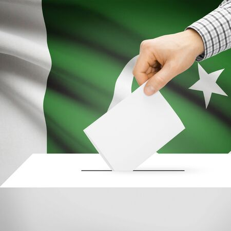 Ballot box with national flag on background series - Pakistan photo