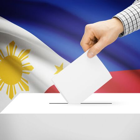 Ballot box with national flag on background series - Philippines photo