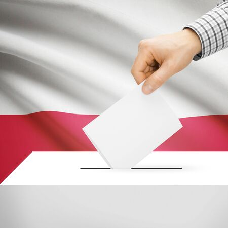 Ballot box with national flag on background series - Poland photo