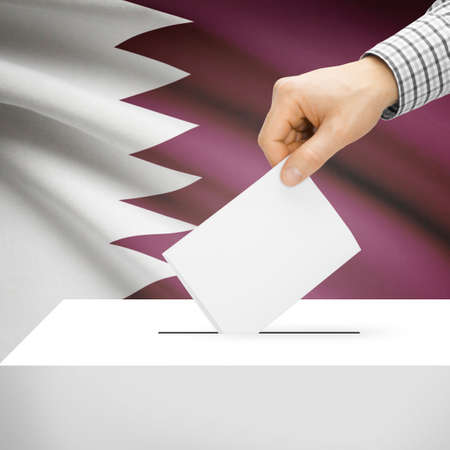 electoral system: Ballot box with national flag on background series - Qatar Stock Photo