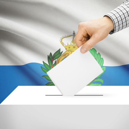 electoral system: Ballot box with national flag on background series - San Marino