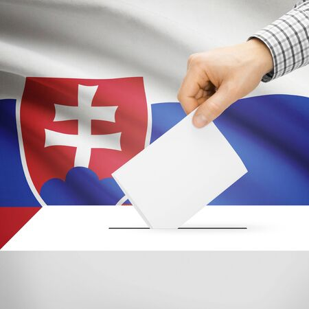 polling booth: Ballot box with national flag on background series - Slovakia