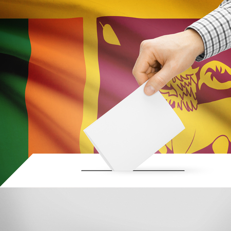 electoral system: Ballot box with national flag on background series - Sri Lanka
