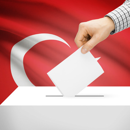 plebiscite: Ballot box with national flag on background series - Turkey