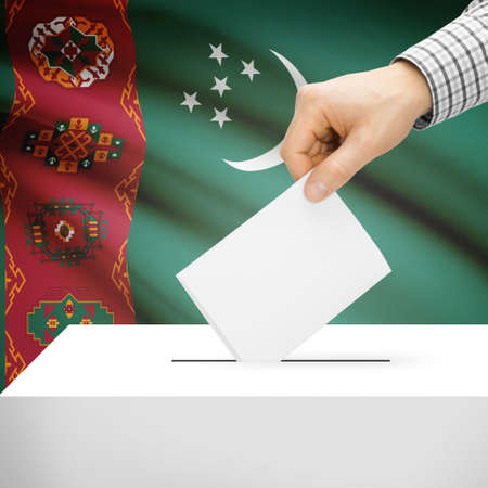 local election: Ballot box with national flag on background series - Turkmenistan