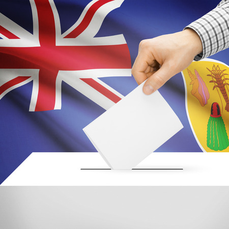 electoral system: Ballot box with national flag on background series - Turks and Caicos Islands
