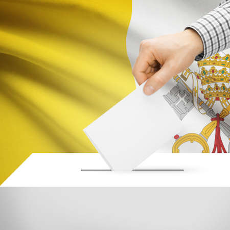 vatican city: Ballot box with national flag on background series - Vatican City State Stock Photo