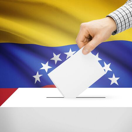 Ballot box with national flag on background series - Venezuela