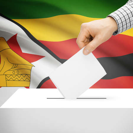 Ballot box with national flag on background series - Zimbabwe photo