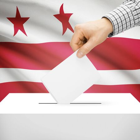 district of columbia: Ballot box with US state flag on background series - District of Columbia, Washington, D.C.