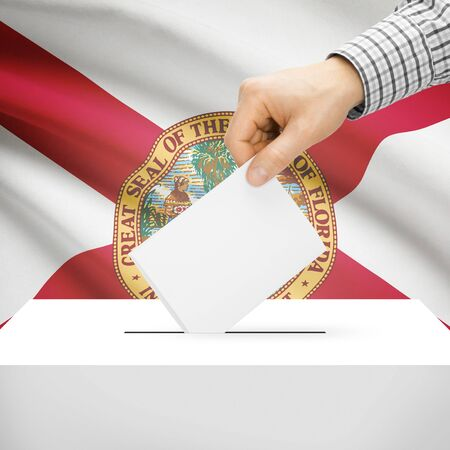 floridian: Ballot box with US state flag on background series - Florida Stock Photo