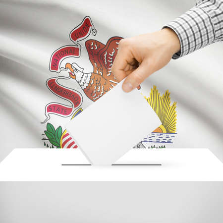 local election: Ballot box with US state flag on background series - Illinois Stock Photo