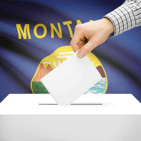 polling booth: Ballot box with US state flag on background series - Montana Stock Photo