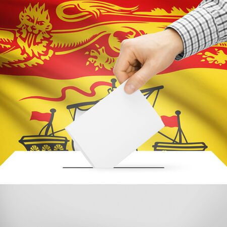Ballot box with Canadian province flag on background series - New Brunswick