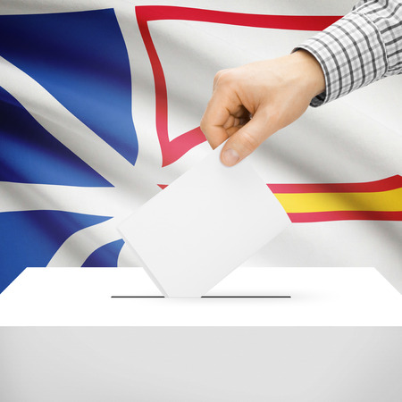 polling booth: Ballot box with Canadian province flag on background series - Newfoundland and Labrador