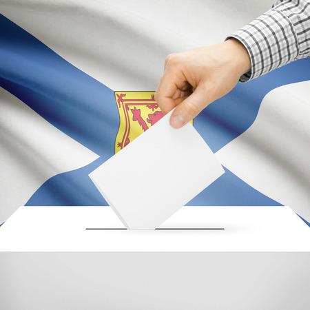 electoral system: Ballot box with Canadian province flag on background series - Nova Scotia