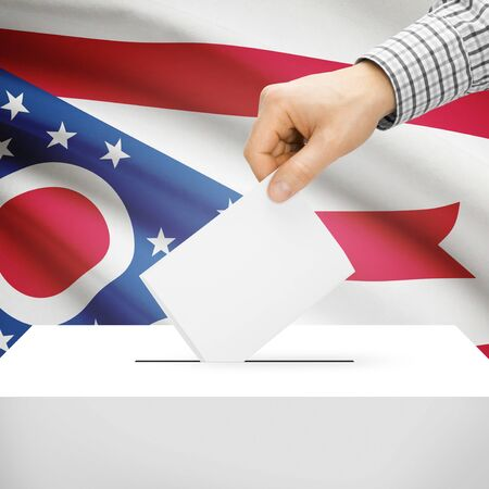 polling booth: Ballot box with US state flag on background series - Ohio Stock Photo