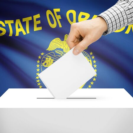 electoral system: Ballot box with US state flag on background series - Oregon