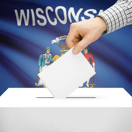 wisconsin flag: Ballot box with US state flag on background series - Wisconsin Stock Photo