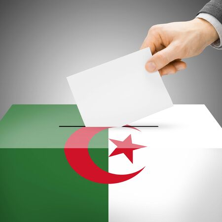 local election: Ballot box painted into Algeria national flag colors Stock Photo