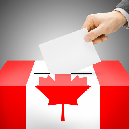 political system: Ballot box painted into Canada national flag colors