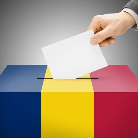 chadian: Ballot box painted into Chad national flag colors  Stock Photo