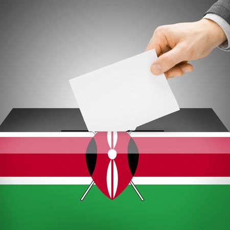Ballot box painted into Kenya national flag colors photo