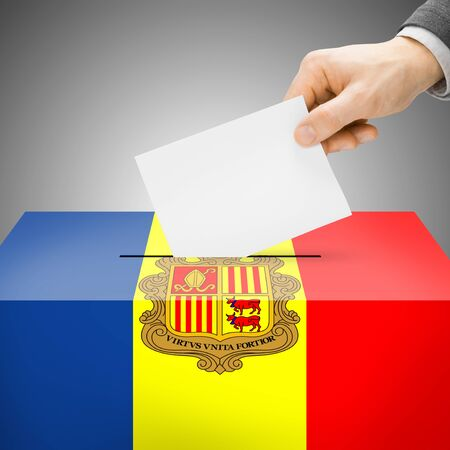polling booth: Ballot box painted into Andorra national flag colors