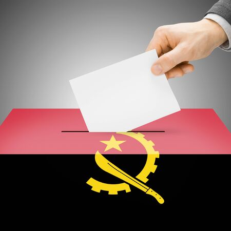 electoral system: Ballot box painted into Angola national flag colors