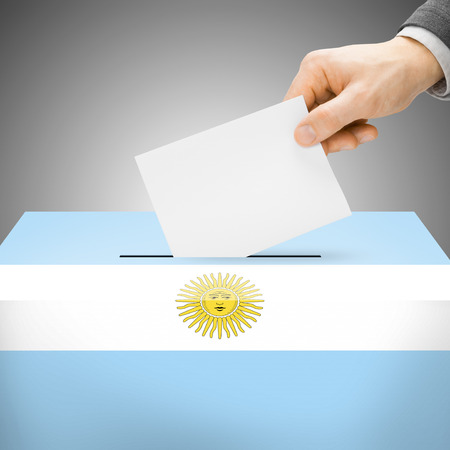 Ballot box painted into Argentina national flag colors photo