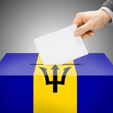 barbadian: Ballot box painted into Barbados national flag colors