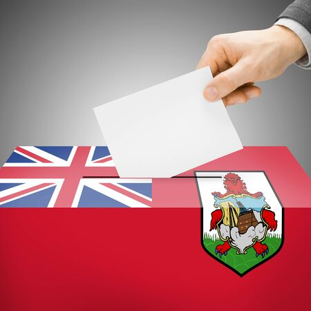 plebiscite: Ballot box painted into Bermuda national flag colors