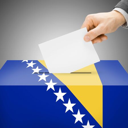 Ballot box painted into Bosnia and Herzegovina national flag colors photo
