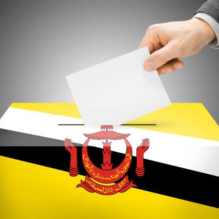 polling booth: Ballot box painted into Brunei national flag colors