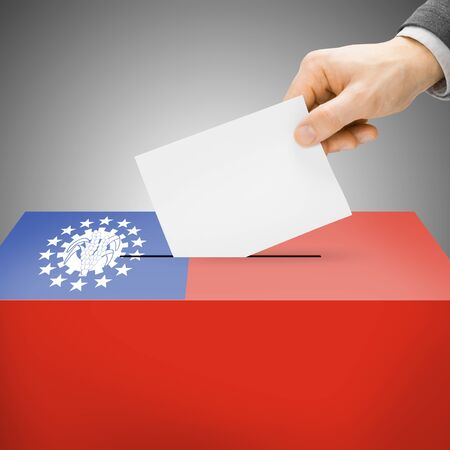 polling booth: Ballot box painted into Burma national flag colors Stock Photo