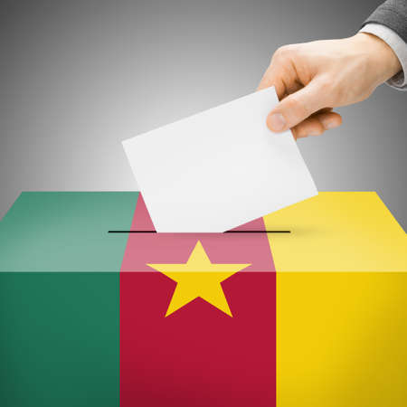 Ballot box painted into Cameroon national flag colors photo