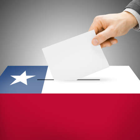 Ballot box painted into Chile national flag colors photo