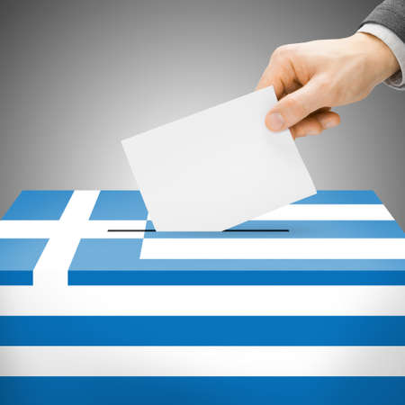 Ballot box painted into national flag colors - Greece photo