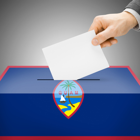 polling booth: Ballot box painted into Guam national flag colors