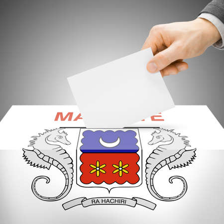 mayotte: Ballot box painted into Mayotte national flag colors Stock Photo