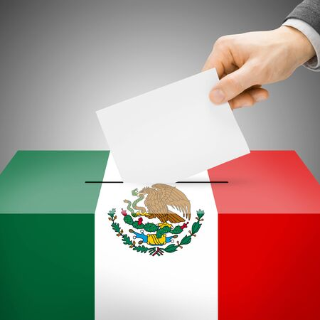 plebiscite: Ballot box painted into Mexico national flag colors