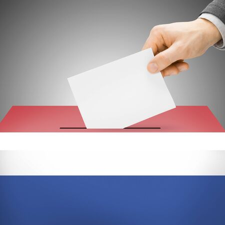 local election: Ballot box painted into Netherlands national flag colors
