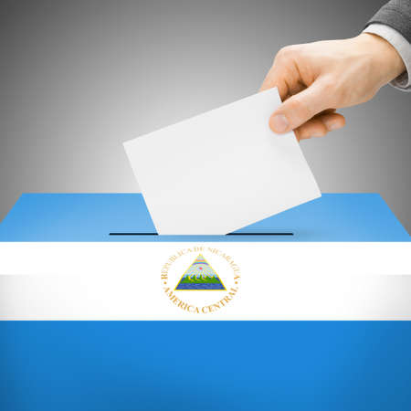 electoral: Ballot box painted into Nicaragua national flag colors