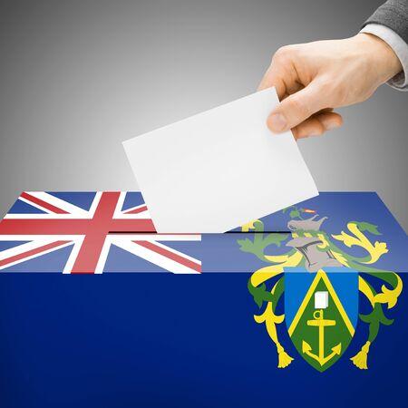 pitcairn: Ballot box painted into Pitcairn Island national flag colors