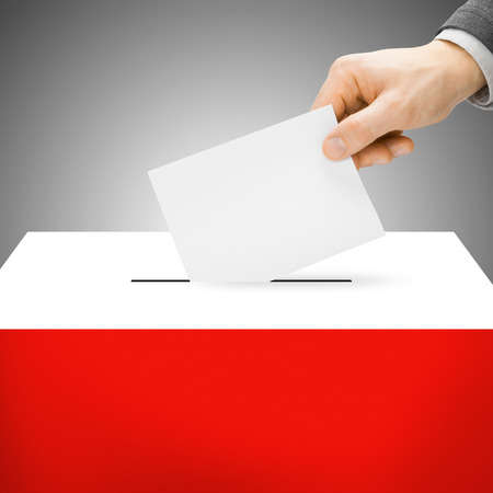 electoral system: Ballot box painted into national flag colors - Poland