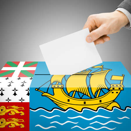 electoral system: Ballot box painted into Saint-Pierre and Miquelon national flag colors