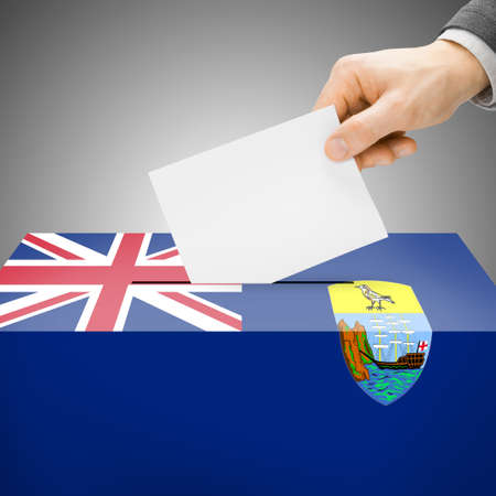 electoral system: Ballot box painted into Saint Helena national flag colors
