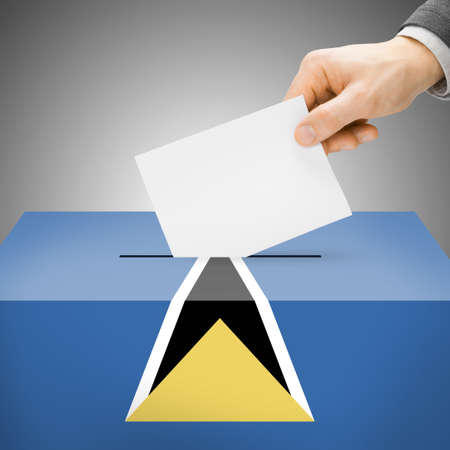 local election: Ballot box painted into Saint Lucia national flag colors
