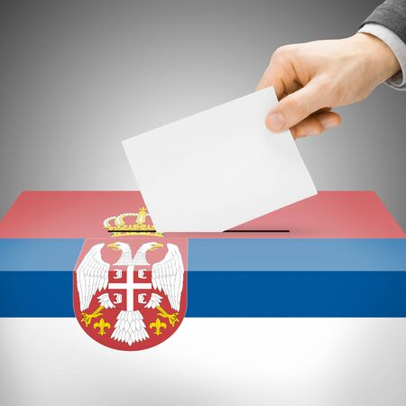 polling booth: Ballot box painted into Serbia national flag colors