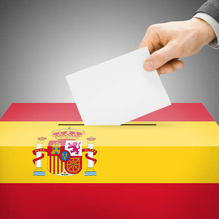 spainish: Ballot box painted into Spain national flag colors
